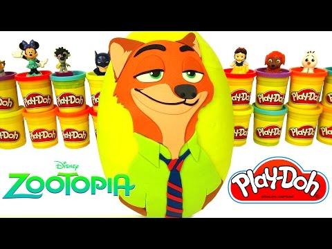 Huevo Sorpresa Gigante de Zootopia en Español Plastilina Play Doh