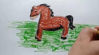 Как нарисовать лошадь-коня (пони). Шаг за шагом просто рисуем простые рисунки! Уроки рисования.