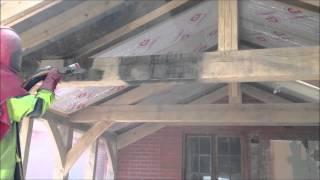 pískování krovu - dřeva