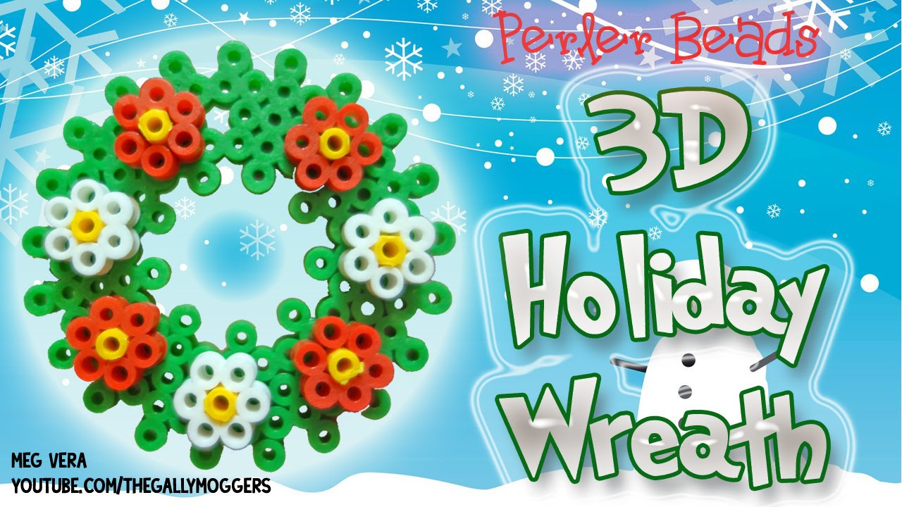 perler bead tutorial 3d christmas or holiday wreath how to youtube - Christmas Perler Bead Patterns