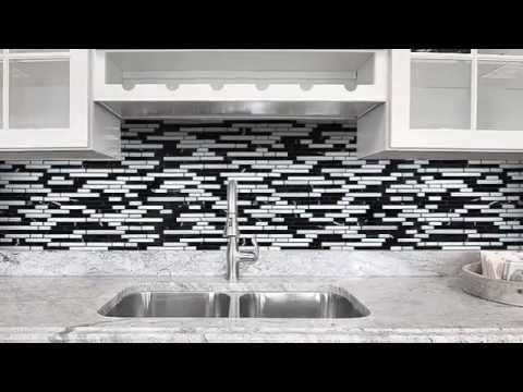 Black Gray And White Backsplash Tile