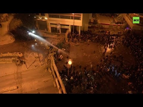Lebanese police fire water cannon at Beirut protesters