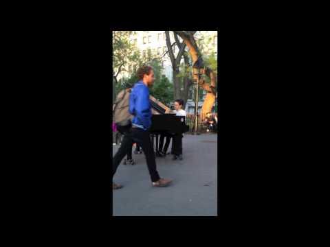 Green Wu playing Chopin in Washington Square Park New York