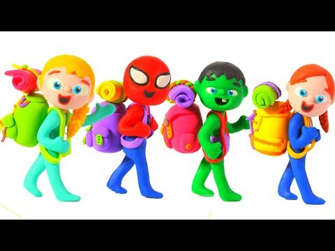SUPERHERO BABIES GO CAMPING ❤ Spiderman, Hulk & Frozen Elsa Play Doh Cartoons For Kids