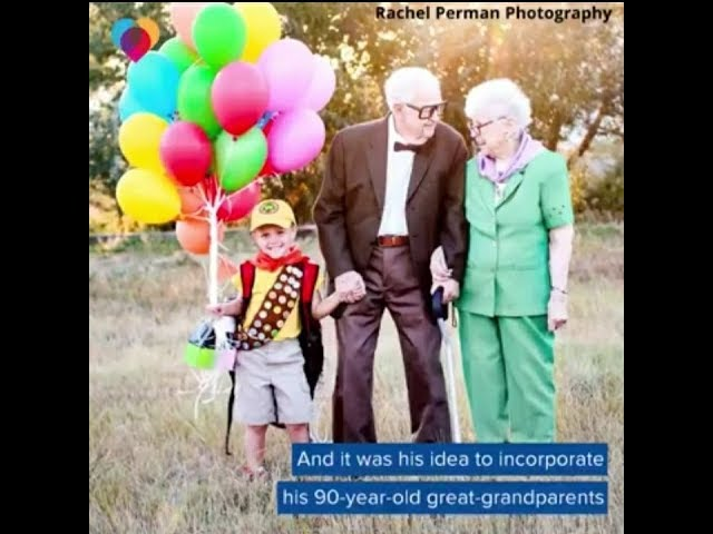 """5-year-old boy's """"Up"""" photoshoot with 90-year-old great-grandparents goes viral"""
