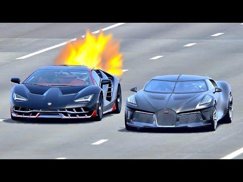 Bugatti La Voiture Noire Vs Lamborghini Centenario Jet Engine - Drag Race 20 KM