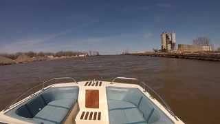 Cobalt 18ft tri-hull on a choppy lake erie