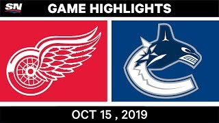 NHL Highlights | Red Wings vs. Canucks - Oct. 15, 2019