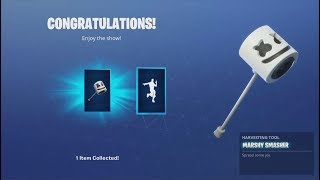 *UNLOCKING* The FREE 'MARSHMELLO' Dance Emote & FREE 'MARSHY SMASHER' (Fortnite Showcase)