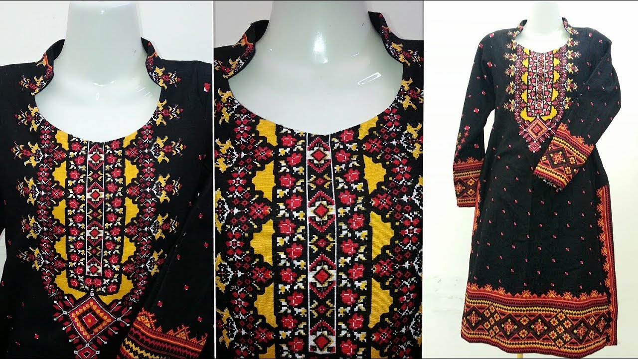 Stand Collar Designs For Kurti : Stand collar neck cutting and stitching step by step kurti