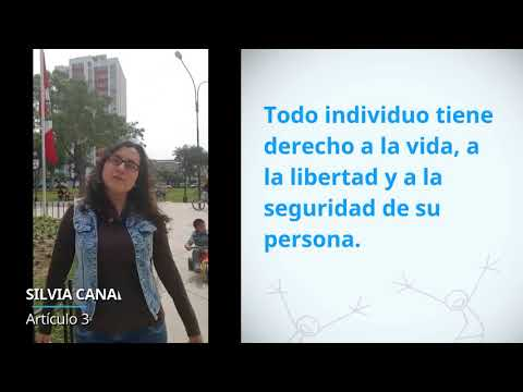 Silvia Canales, Peru, reading article 3 of the Universal Declaration of Human Rights