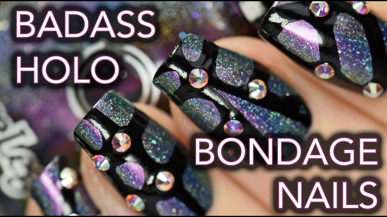 Badass rhinestone holo bondage nail art youtube badass rhinestone holo bondage nail art prinsesfo Image collections