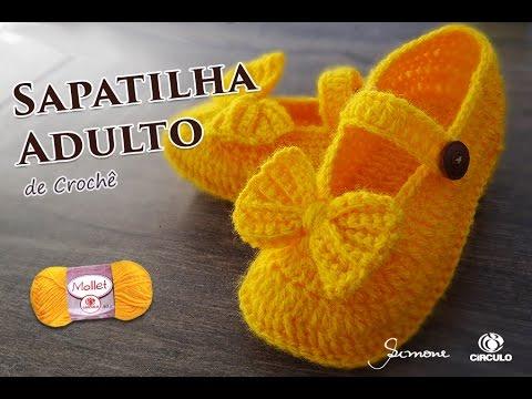 2d82566d2b Sapatilha de Crochê Adulto