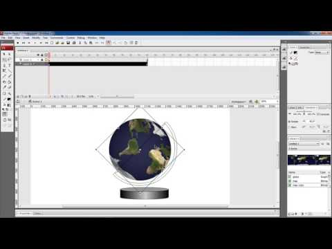 Flash tutorial How to make 3D globe spinning animation in Flash cs3