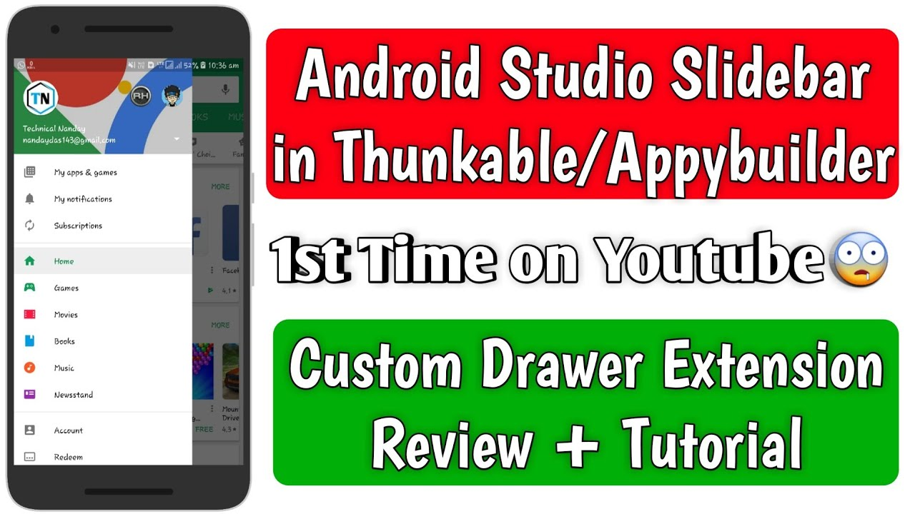 Android Studio Slidebar in Thunkable/Appybuilder | Navigation Drawer  extension review + tutorial