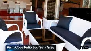 Palm Cove Patio 5pc Set - Outdoor Rattan Wicker - Grey - Milan Direct