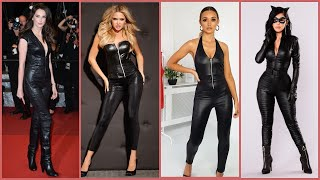 fabulous and stunning women's daily wear leather jumpsuits ideas