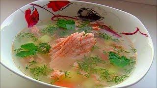 Суп из хребтов красной рыбы / Уха из лосося с рисом эконом вариант