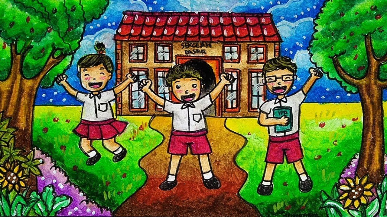 Cara Menggambar Dan Mewarnai Sekolah Tema Masuk Sekolah Dengan Gradasi Warna Oil Pastel Yang Bagus Youtube