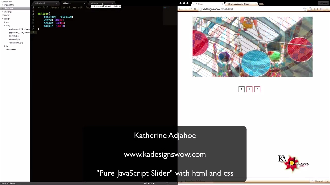Pure Javascript Slider with HTML and CSS