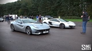Ferrari F12 vs McLaren 12C - Launch Control Drag Race at Vmax Quicksilver