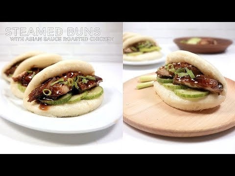 BAKPAO LIPAT AYAM PANGGANG SAUS ASIA // STEAMED BUNS WITH ASIAN SPICE SAUCE ROASTED CHICKEN