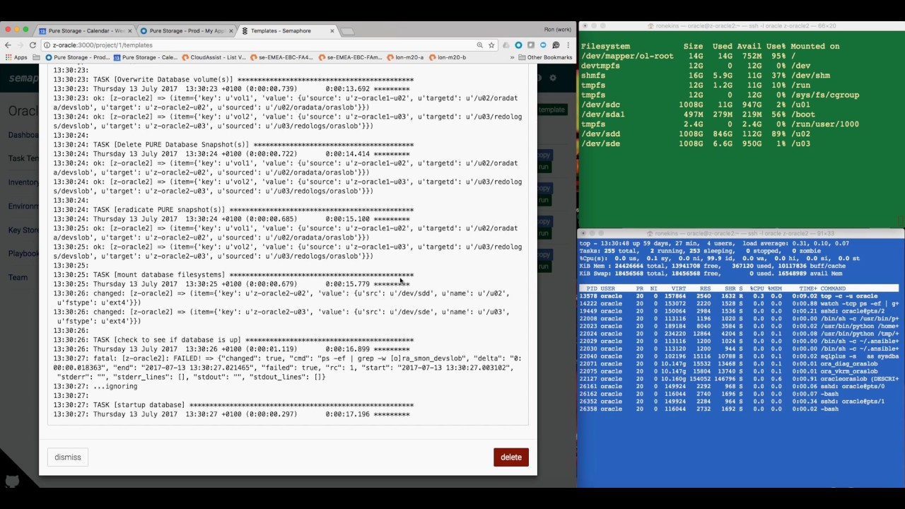 One Click Oracle 12c Database Clone using Ansible and Semaphore