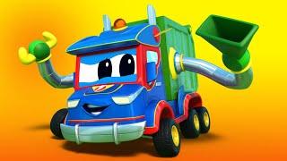 儿童动画- 超级垃圾卡车垃圾清理卡车营救赛车! -汽车城超级卡车!