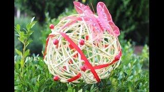 как сделать декоративный шар из лозы