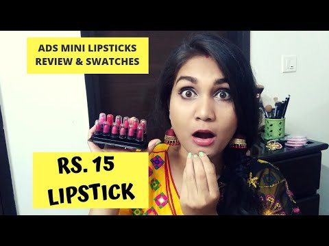 Rs. 15 Lipstick 😱 | ADS KISS LIPSTICKS REVIEW & SWATCHES | NIDHI KATIYAR