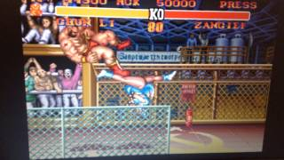 Street fighter 2 turbo normal mode chun li spinning bird kick on zangief