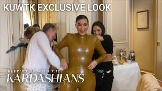 Watch Kim Kardashian Literally Squeeze Into Skin-Tight Outfit | KUWTK Exclusive Look | E!