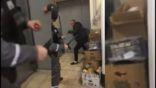 Избиение покупателя сотрудником ЧОПа в уфимском супермаркете попало на видео