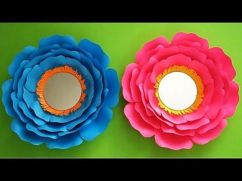 Easy Paper Flower Mirror Tutorial For Kids   DIY Room Decor Ideas   DIY  Wall Decorations