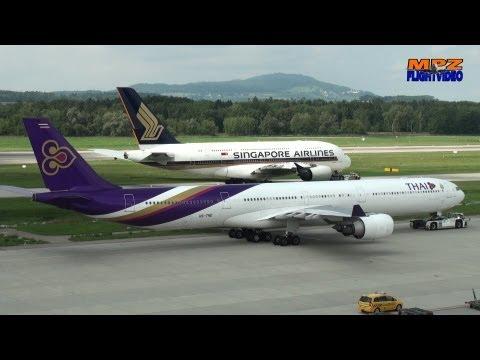 ✈ Thai A340-600 - Edelweiss A330 - United Air Boeing 767 - Airliners.net Meet 2012 - SIA A380