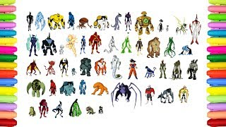 Coloring all Ben 10 Aliens transformations