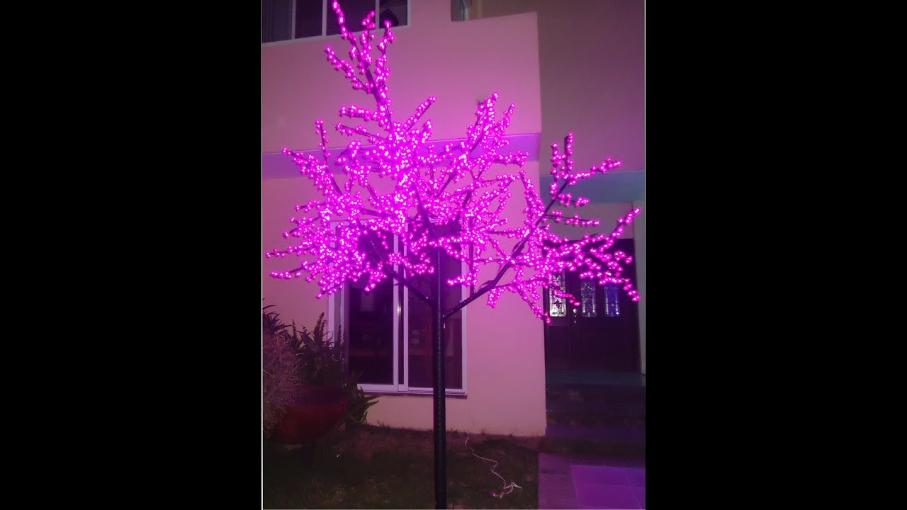 Arboles de leds decoraci n jardines eventos salones youtube for Luces verdes para jardin