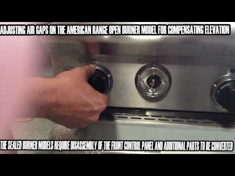 Adjusting The Air/fuel Setting On American Range Open Burners Models To Compensate For Elevation