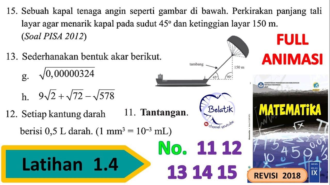 Latihan 1 4 Nomor 11 12 13 14 15 Kelas 9 Smp Mts Pangkat Negatif Bentuk Akar Mtk Bse Hal 46 Youtube