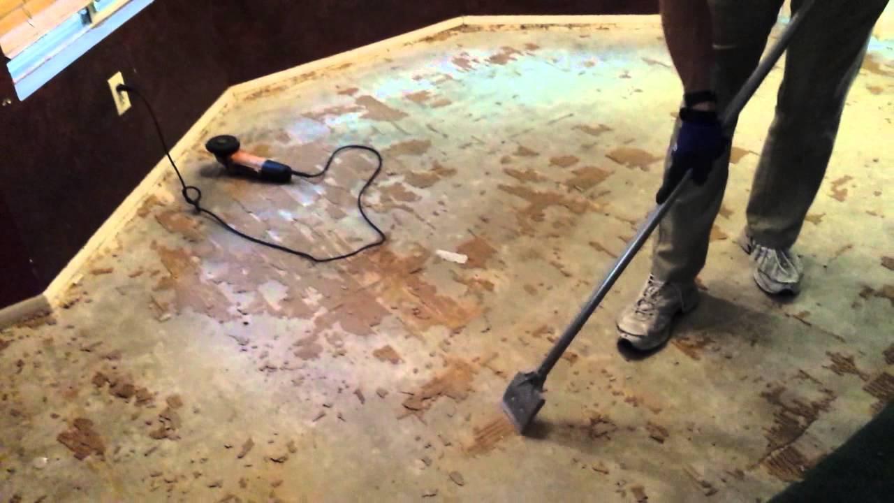 remove glue down wood flooring