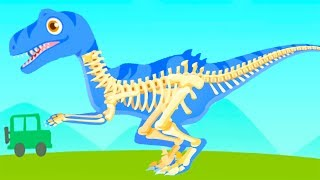 Fun Jurassic Dig Games - Kids Play & Find Dinosaur Bones With Cute Vehicles - Dino Game For Children