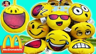 2016 NEW McDonald's Emoji Plush Happy Meal 9 Bags Kids Toy Collection Review | Family 4 Fun