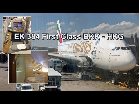 Emirates First Class with Shower Spa Experience - EK 384 (BKK to HKG)