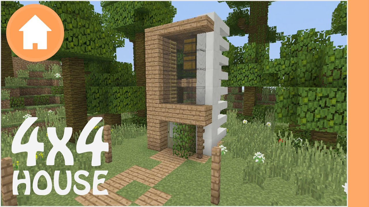Minecraft house tutorial 4x4 modern lot house xbox pe for Modern house 6x6