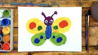 Бабочка ГУАШЬ - Урок рисования для малышей