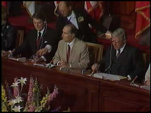 President Mitterrand Delivers Joint Communique in Versailles, France on June 6, 1982