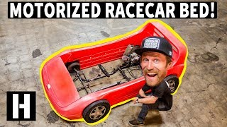 We Turn a Racecar Bed into a REAL car. Childhood Dreams Come True!!