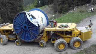 Transport du câble du funitel de la Plaine-Morte - Crans-Montana (2ème bobine)
