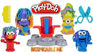 Play Doh CRAZY HAIR Disguise Lab Despicable Me Cookie Monster Elmo Playdough Duplo Transformation
