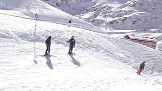 Skiing blue run 8 into St Christoph, Arlberg, Austria